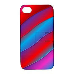 Diagonal Gradient Vivid Color 3d Apple Iphone 4/4s Hardshell Case With Stand