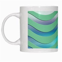 Abstract Digital Waves Background White Mugs by BangZart