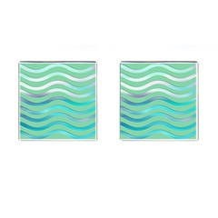Abstract Digital Waves Background Cufflinks (square) by BangZart