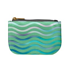 Abstract Digital Waves Background Mini Coin Purses by BangZart