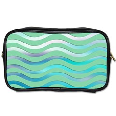 Abstract Digital Waves Background Toiletries Bags 2 Side