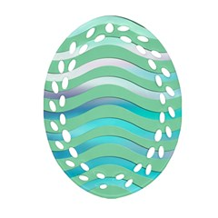Abstract Digital Waves Background Ornament (oval Filigree)