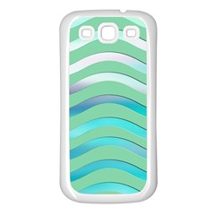Abstract Digital Waves Background Samsung Galaxy S3 Back Case (white)