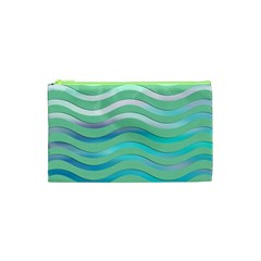 Abstract Digital Waves Background Cosmetic Bag (xs)