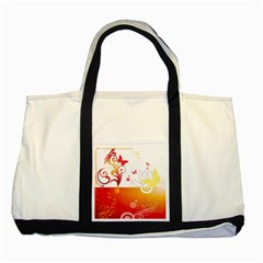 Spring Butterfly Flower Plant Two Tone Tote Bag
