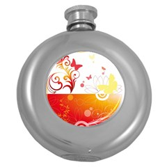 Spring Butterfly Flower Plant Round Hip Flask (5 Oz)