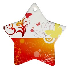 Spring Butterfly Flower Plant Star Ornament (two Sides)
