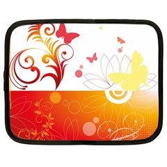 Spring Butterfly Flower Plant Netbook Case (large)
