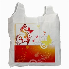 Spring Butterfly Flower Plant Recycle Bag (two Side)
