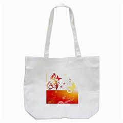 Spring Butterfly Flower Plant Tote Bag (white)