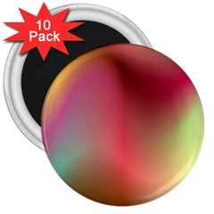 Colorful Colors Wave Gradient 3  Magnets (10 Pack)