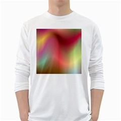 Colorful Colors Wave Gradient White Long Sleeve T Shirts