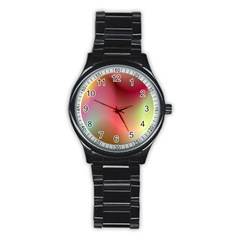 Colorful Colors Wave Gradient Stainless Steel Round Watch by BangZart