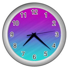 Background Pink Blue Gradient Wall Clocks (silver)