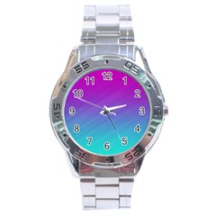 Background Pink Blue Gradient Stainless Steel Analogue Watch