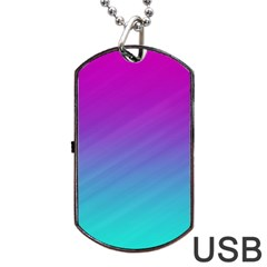 Background Pink Blue Gradient Dog Tag Usb Flash (one Side)
