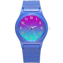 Background Pink Blue Gradient Round Plastic Sport Watch (s)
