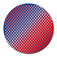 Dots Red White Blue Gradient Round Mousepads