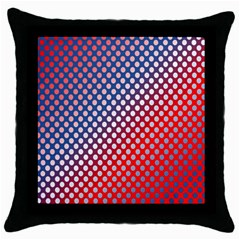 Dots Red White Blue Gradient Throw Pillow Case (black)