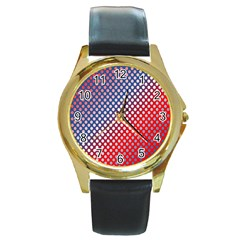 Dots Red White Blue Gradient Round Gold Metal Watch