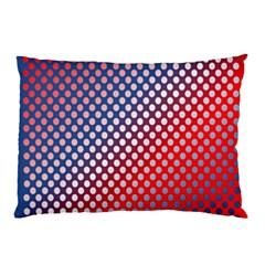 Dots Red White Blue Gradient Pillow Case
