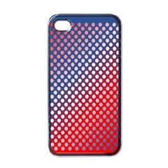 Dots Red White Blue Gradient Apple Iphone 4 Case (black)
