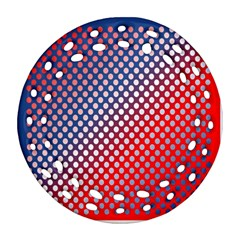 Dots Red White Blue Gradient Ornament (round Filigree)