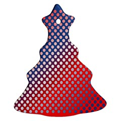 Dots Red White Blue Gradient Ornament (christmas Tree)