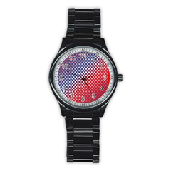 Dots Red White Blue Gradient Stainless Steel Round Watch