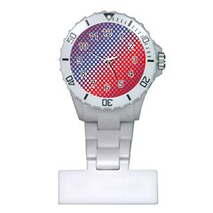 Dots Red White Blue Gradient Plastic Nurses Watch by BangZart
