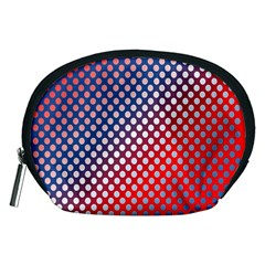 Dots Red White Blue Gradient Accessory Pouches (medium)