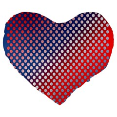 Dots Red White Blue Gradient Large 19  Premium Flano Heart Shape Cushions