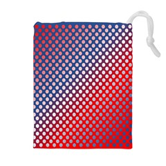 Dots Red White Blue Gradient Drawstring Pouches (extra Large)