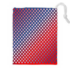 Dots Red White Blue Gradient Drawstring Pouches (xxl)