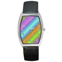 Background Course Abstract Pattern Barrel Style Metal Watch