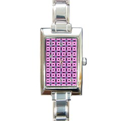 Pattern Pink Squares Square Texture Rectangle Italian Charm Watch
