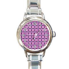 Pattern Pink Squares Square Texture Round Italian Charm Watch