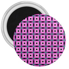 Pattern Pink Squares Square Texture 3  Magnets
