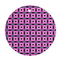 Pattern Pink Squares Square Texture Ornament (round)