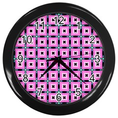 Pattern Pink Squares Square Texture Wall Clocks (black) by BangZart