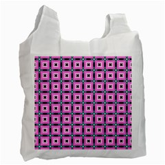 Pattern Pink Squares Square Texture Recycle Bag (two Side)