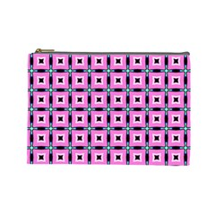 Pattern Pink Squares Square Texture Cosmetic Bag (large)
