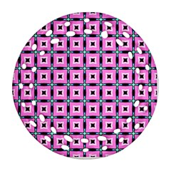 Pattern Pink Squares Square Texture Ornament (round Filigree) by BangZart