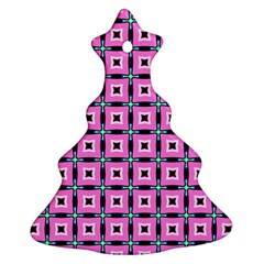 Pattern Pink Squares Square Texture Christmas Tree Ornament (two Sides)