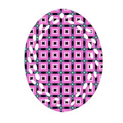 Pattern Pink Squares Square Texture Ornament (oval Filigree) by BangZart