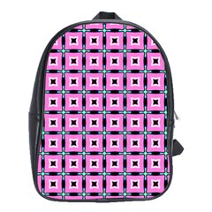 Pattern Pink Squares Square Texture School Bag (xl)