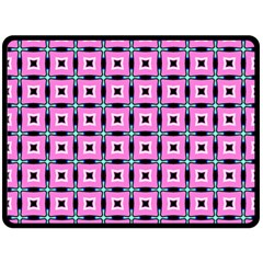 Pattern Pink Squares Square Texture Double Sided Fleece Blanket (large)