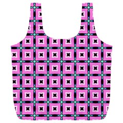 Pattern Pink Squares Square Texture Full Print Recycle Bags (l)
