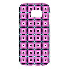 Pattern Pink Squares Square Texture Samsung Galaxy S7 Edge Hardshell Case by BangZart