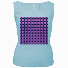 Pattern Pink Squares Square Texture Women s Baby Blue Tank Top by BangZart